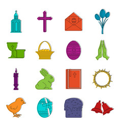 easter items icons doodle set vector image vector image