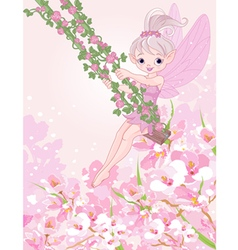 Pixy Fairy on a Swing vector image vector image