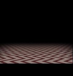 Red zig-zag floor in the darkness horizontal vector
