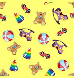 children s toys seamless pattern vector image vector image
