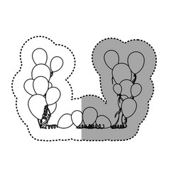 figure colored party balloon with serpentine icon vector image