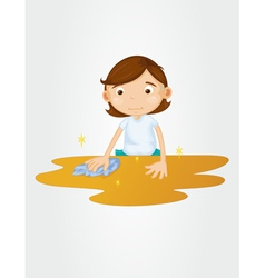 Girl wiping table on white vector image vector image