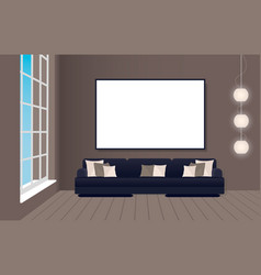 interior mockup in loft style with sofa and empty vector image vector image