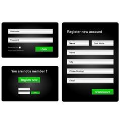 login and register web form vector image