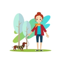 Walking a Dog Daily Routine Activities of Women vector image