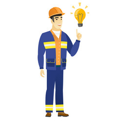 builder pointing at bright idea light bulb vector image vector image