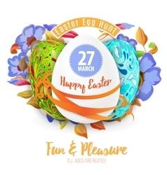 Easter egg hunt in the flowers design EPS 10 vector image