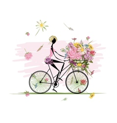 Girl with floral bouquet in basket cycling vector image vector image