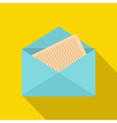 Open envelope with sheet of paper icon flat style vector image vector image
