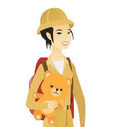 Young asian woman traveling with teddy bear vector