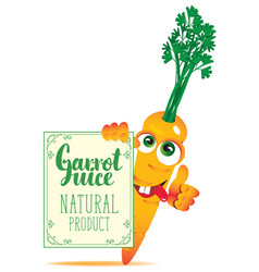 banner for carrot juice with cute character carrot vector image vector image