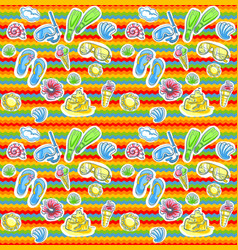 bright summer pattern with flippers vector image vector image