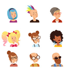 strange people characters set funny faces with vector image vector image