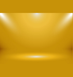 3d empty gold color studio room show booth vector image