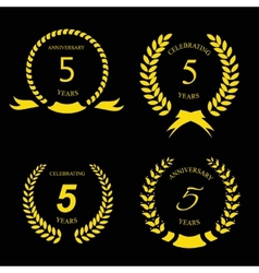 5 years anniversary golden label with ribbon vector image