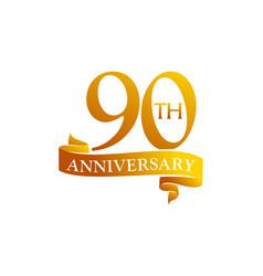 90 year ribbon anniversary vector image