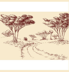 African landscape hand drawing a road in the vector