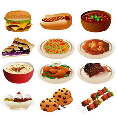 American food icons vector