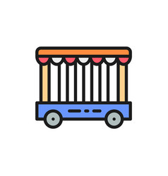 Animal cage circus show flat color line vector