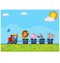 Animals on train vector