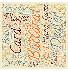 Baccarat history and american rules text vector