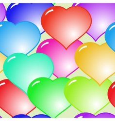 background with glass multicolor hearts vector image