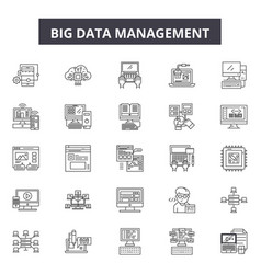 big data management line icons signs set vector image