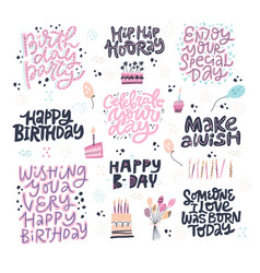 Birthday hand drawn greeting cards set vector