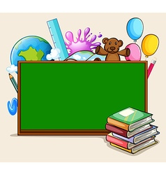 Blackboard and school objects vector