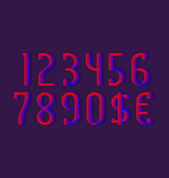 Blue red gradient magic 3d numbers and currency vector