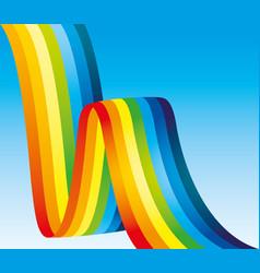 Bright rainbow ribbon vector
