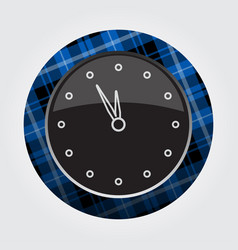 Button blue black tartan - last minute clock icon vector