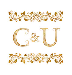 C and u vintage initials logo symbol the letters vector