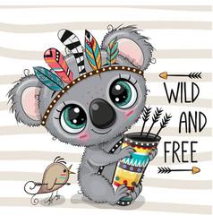 cartoon koala with feathers on a stripes vector image