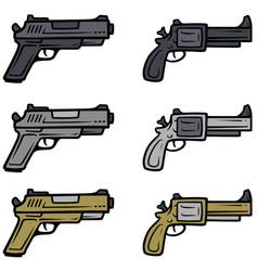 Cartoon pistols and handguns icons vector