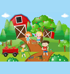 Children picking apples in the orchard vector