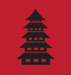 chinese pagoda temple icon on dark red background vector image