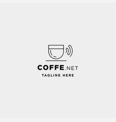 Coffee wifi logo design cafe internet icon sign vector