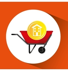 Construction remodel wheelbarrow icon graphic vector