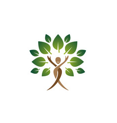 creative people tree body happy logo vector image