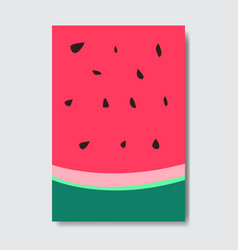 cut watermelon template card slice fresh fruit vector image