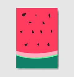 Cut watermelon template card slice fresh fruit vector