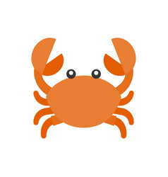 cute crab cartoon icon flat design vector image