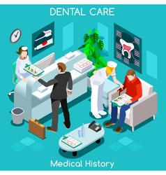 Dentist Wait Room Isometric People vector