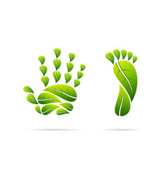ecological leaves concept icons hand and foot vector image