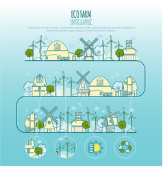 ecology farm infographic template with vector image
