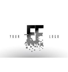 Ef e f pixel letter logo with digital shattered vector