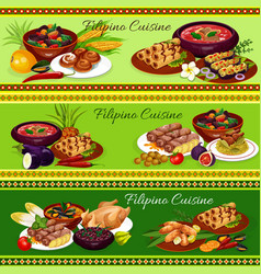filipino meat dishes with vegetable fruit dessert vector image
