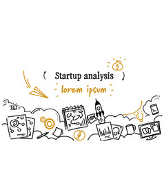 financial business startup analysis concept sketch vector image