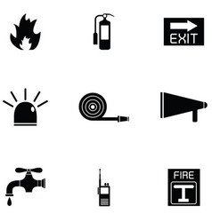 Firefighter icon set vector